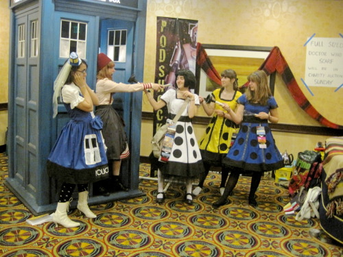 The Doctor and the TARDIS face off with the daleks in a new form! (our costuming group at Catch 22) submitted by isayweraday