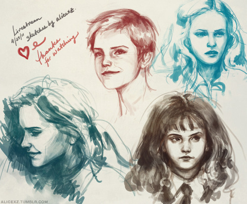 Livestream doodling (part 2), 04/29/11. Sketches of Emma Watson, drawn on Livestream over the course of about two hours.
