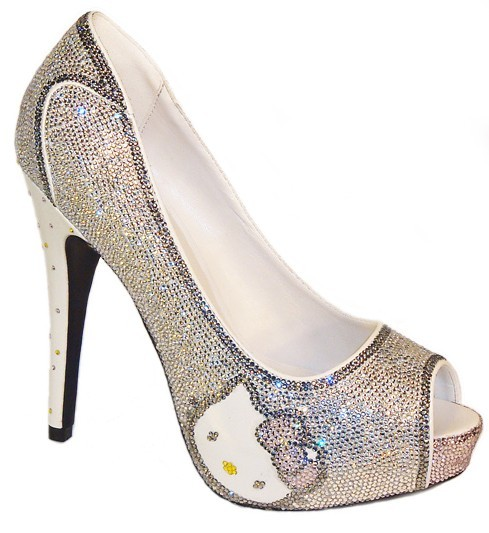 Hello Kitty Rhinestone Platform Pumps by AVoronova)