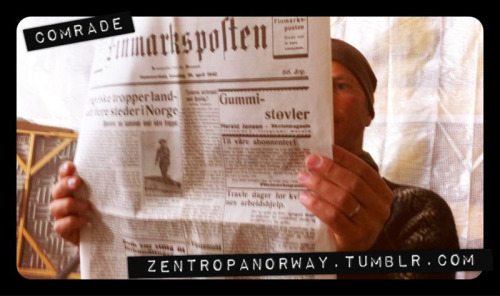 Day 20 - #MovieComrade Grip Bob Aas Carho reads the morning paper and is shocked by the news that Germany has invaded Norway.