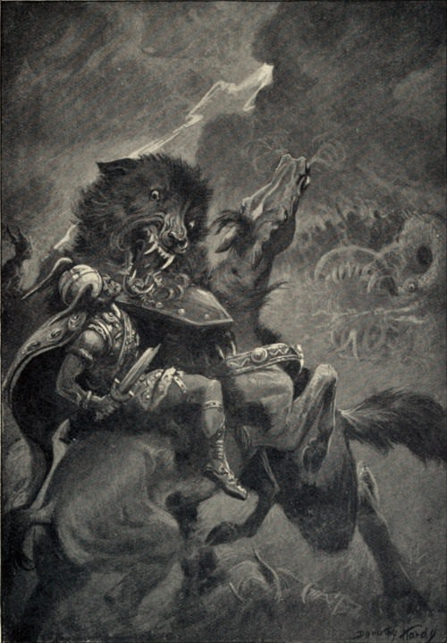 Odin and Fenris (1909) by Dorothy Hardy