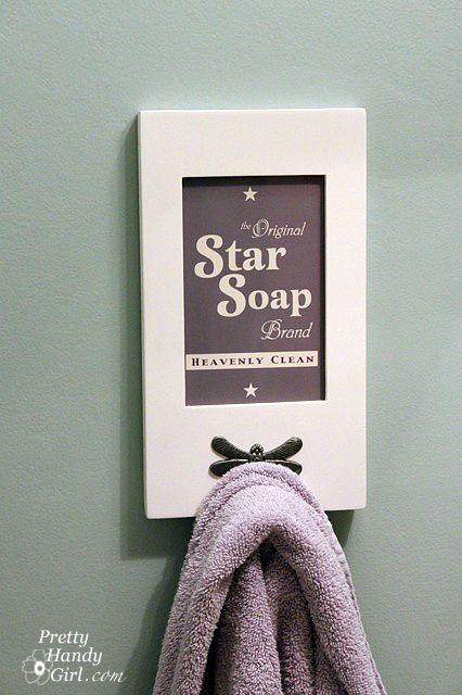Free download: Star Soap sign | Pretty Handy Girl The bathroom is the one room I think people miss when they're decorating. I guess that people are worried about adding any art because of the moisture - you don't want to invest in something only to have it buckle and shrink because you like your hot showers! But this cute download is perfect - print it onto some photo paper and frame it in an old frame from an op shop - you can have a beautifully decorated space that's stress free. Or you could do as they have here and add a hook, making it a pretty place to hang your towel!