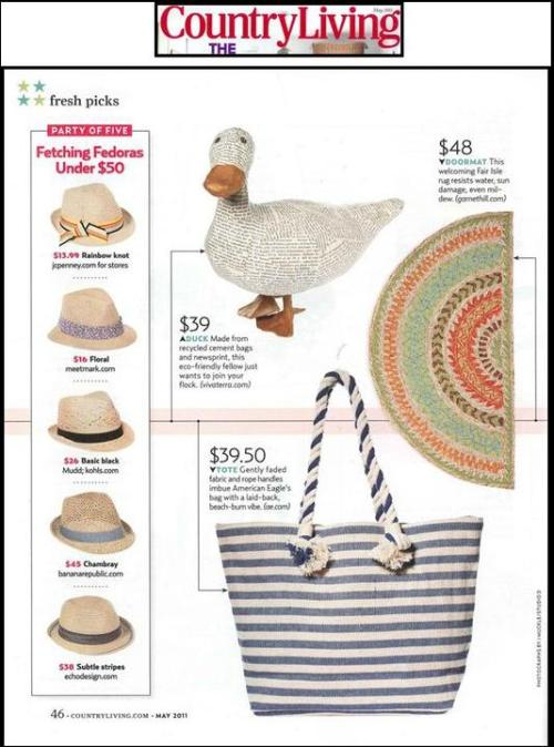 "Country Living , May 2011mark Fierce Fedora was included in a round-up of ""Fresh Picks"" under $50. To stay in the know on new products or current deals: https://www.facebook.com/pages/Get-Hooked-Up-Mark-Girl-Emily/179478405434832 To shop and explore: http://emilylee.mymarkstore.com/"