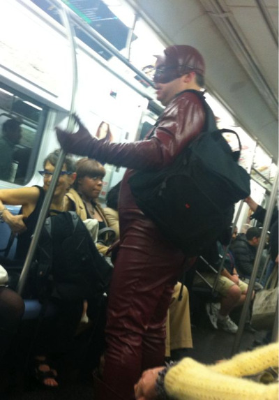 The Best Thing I've Seen Today: subway riding Dare Devil.