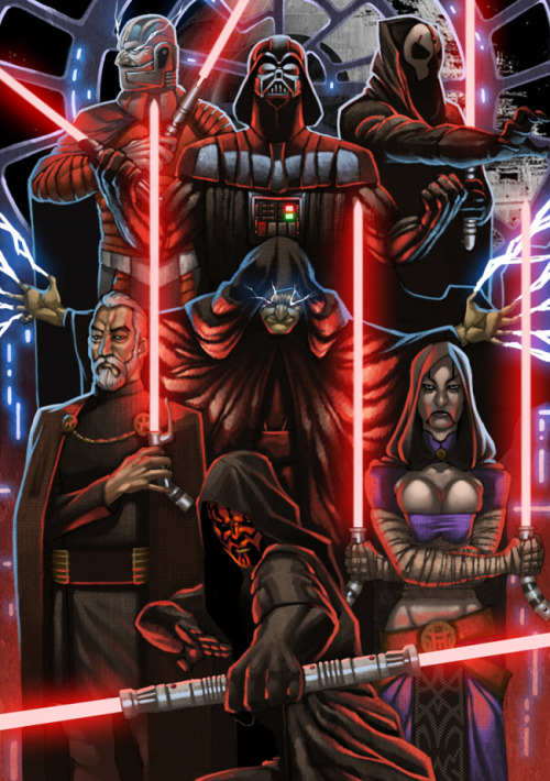 Artist Paolo Cagampan brought the clan of evil Sith Lords together for a family photo. You will learn to both fear and respect the dark side. Sith Lords by Paolo Cagampan