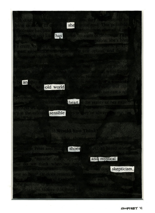 "newspaperblackout:  ""She Has,"" a blackout by Paul Soupiset, San Antonio, TX, USA"