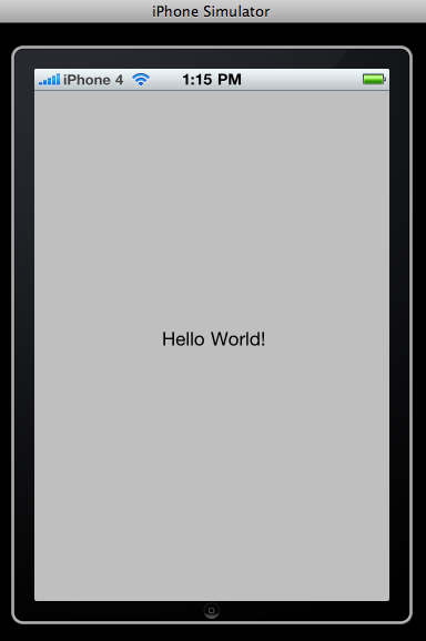 "Starting work on iTouch games! Started with the obligatory ""Hello World"" App"