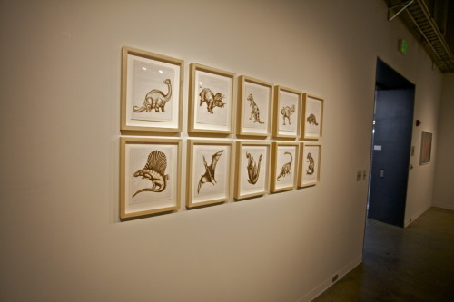 Installation view of: and act calmly April 18-22, 2011 at the University of Virginia. Featuring Dynamic Dinosaurs, 2011.