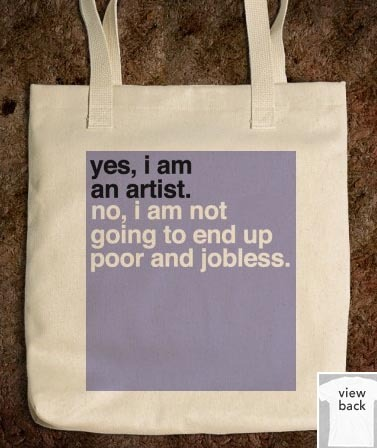"experimenting… here's one on an american apparel tote. (p.s.- thanks to everyone who gave me advice in my askbox on good websites for shirts/printing!) besides shirts, would anyone be down for tote bags? :)   yes, i'm planning on putting the url on the bottom right, but does anyone know whether there'd be legal ramifications for printing ""tumblr"" on it? is it okay?"