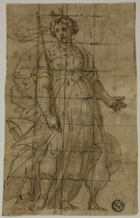 centuriespast:    Lazzaro TavaroneItalian, 1556-1641 Study for Juno (or Diana) with a Peacock, 1584/85 Pen and brown ink with brush and brown wash, on ivory laid paper, squared in black chalk Art Institute of Chicago