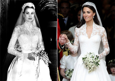 sun-star-n-moon:  The Comparison between Grace Kelly's and Kate Middleton's Dress.