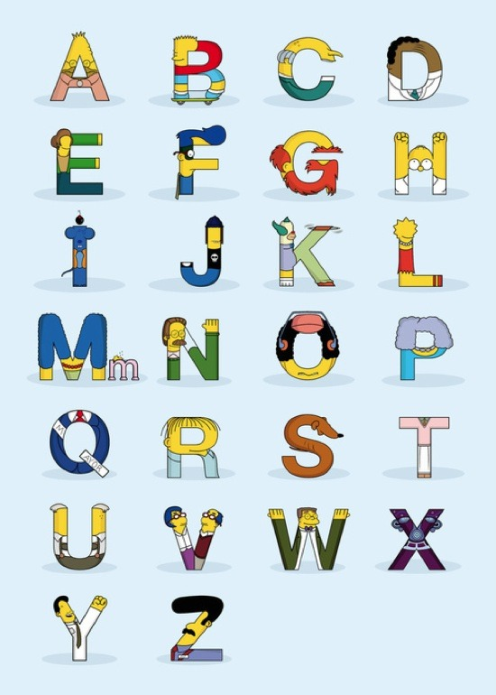 Simpsons Characters In the Form of Letters of the Alphabet