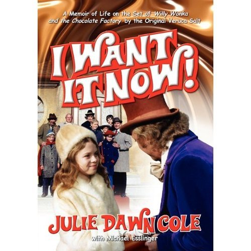 "Guys! Julie Dawn Cole a.k.a Veruca Salt is gonna be in NYC on Monday discussing her new book  I Want It Now! A Memoir of Life On The Set of Willy Wonka And The Chocolate Factory. Guess what? We're giving 3 copies away RIGHT NOW!  The first 3 people to email imremembering@gmail.com get a book. You must put ""I WANT IT NOW!"" in the subject line to be eligible.   Only winners will be notified. Good luck!"