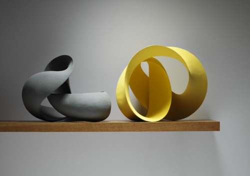 ceramicsnow:  Merete Rasmussen: Installation View  I really like curvy stuff like this. There's this really simple sculpture in my university's library but I think it's just so pretty because of its shiny shiny curves.