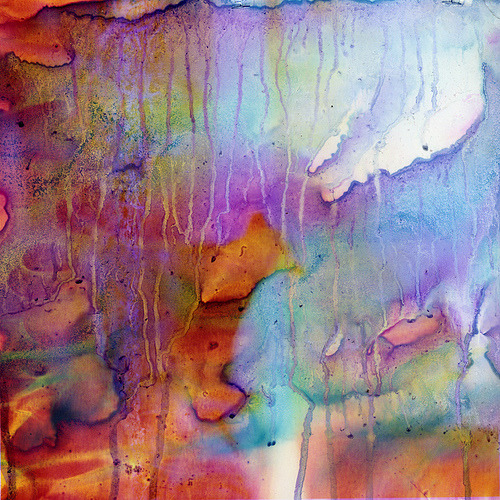 What happens when you mix color photographs and household bleach? A beautiful mess.  (by Sarah Palmer)