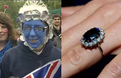 Some Woman Dressed Up Like Kate Middleton's Engagement Ring For The Royal Wedding We all have our own ways of celebrating the marriage of the future King and Queen of England, but some people's are just a little bit too extreme.