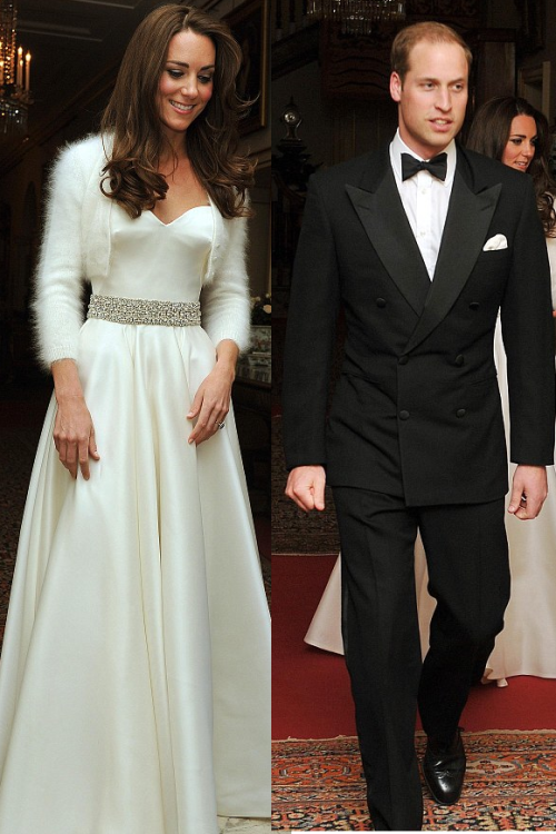 beautifulweddings:  The Duke and Duchess of Cambridge arrive at their evening reception.