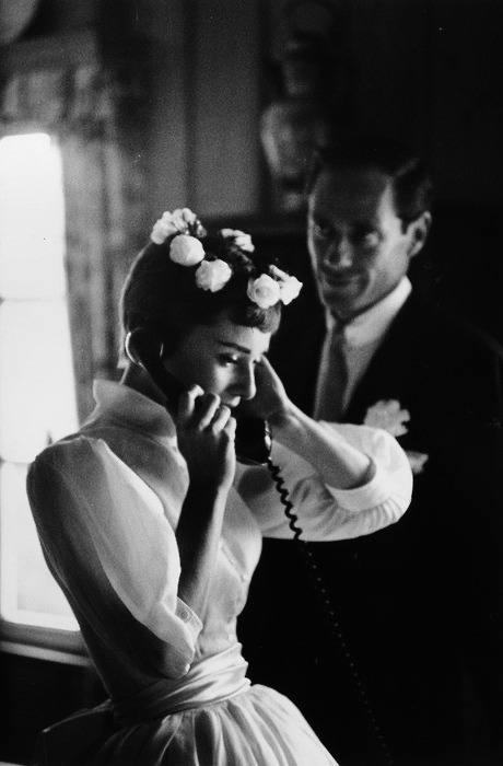 rareaudreyhepburn:  Audrey Hepburn and Mel Ferrer on their wedding day in Bürgenstock, Switzerland. (September 25,1954)