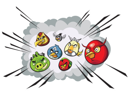 heyoscarwilde:  Angry Birds Assemble! art by Dave Mott :: via monkeyworks.wordpress.com