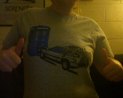 "was wearing my delorean-crashing-into-the-tardis woot shirt today. my professor looked at me, shook his head, and said ""you are the biggest nerd."" i just smiled."