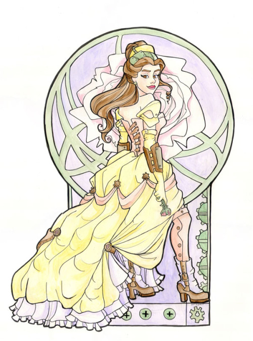 "I finished her! A scan of Steampunk Belle, painted with acrylics on a 19"" x 24"" Bristol. http://www.facebook.com/KarenHallion"