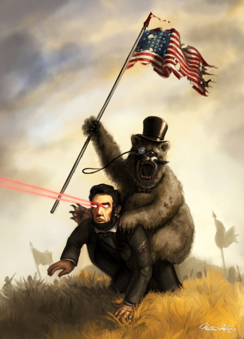 laughingsquid:  A Sophisticated Bear With a Mustache Riding Abraham Lincoln With Laser Eyes Into Glorious Battle