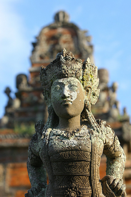 Hindu statue in an old temple, Bali, Indonesia by Eric Lafforgue