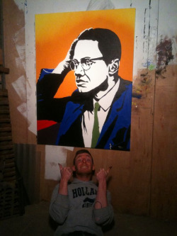 Tonight's painting - Malcolm X.  HUZZAH!