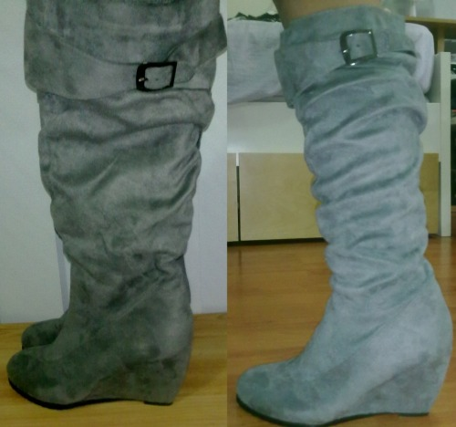 ICE WEDGE HEEL KNEE HIGH SUEDE BOOTSSize: 37Colour: GreyCondition: Never worn, brand newSelling for: $30 SOLD