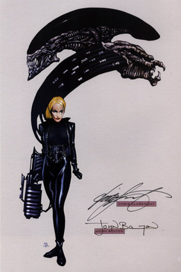 Alien vs Predator bookplate signed by John Bolton and Chris Claremont.