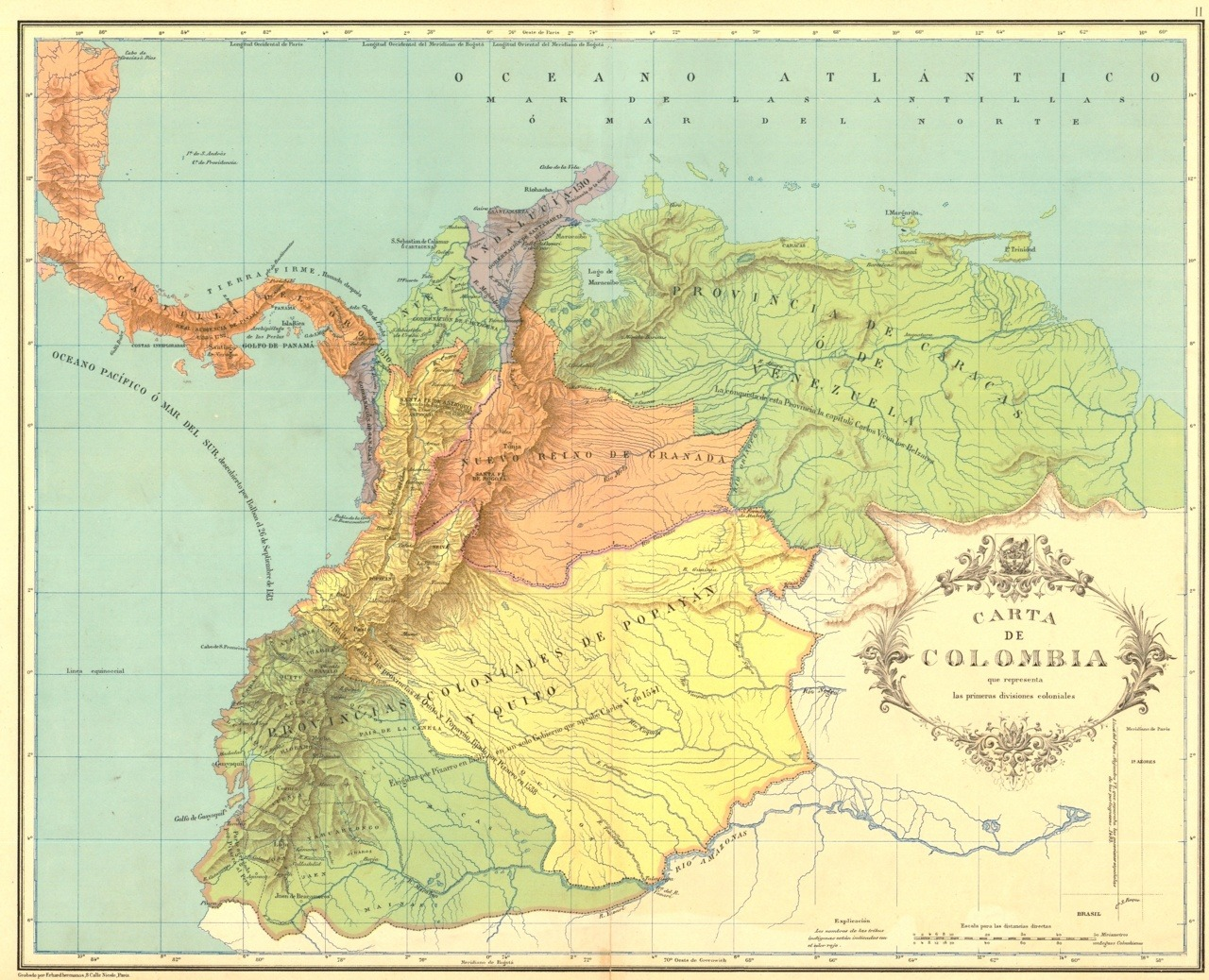 "cartographymaps: Colonial divisions of the New Kingdom of Granada (16th-18th c). From ""Atlas geográfico e histórico de la República de Colombia"", 1890."