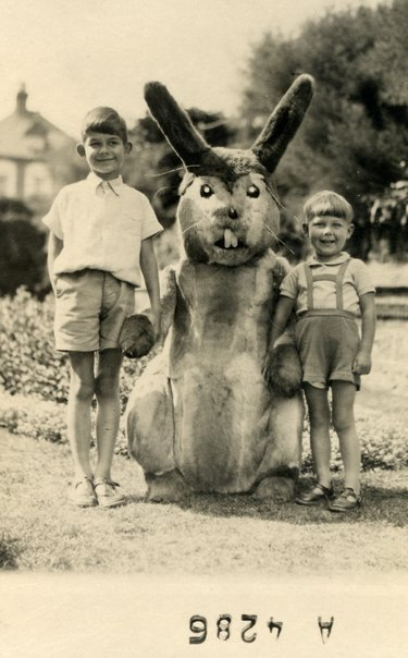 "Found an old photo of me and my brother: ""Easter in Stuttgart '57"" it says on the back. The bunny went on to become towne clerk of Wolsingham before a sex scandal forced him to go into hiding in a Highgate nunnery near Hadrian's wall. My brother went on to become a minor astronaut.  (via markmcevoy)"