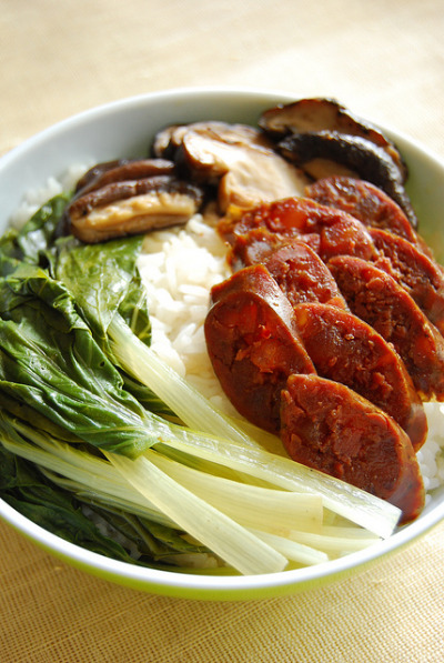 Chinese Goose Liver Sausage Steamed Over Rice Recipe