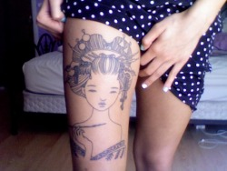 "fuckyeahtattoos:  This is my first tattoo. It's a piece called ""Oiran"" by Audrey Kawasaki. I'm absolutely in love with it, but unfortunately I'm still waiting to finish it. It was done by Sean Wilcox at IronHeart in Beaverdale, IA."
