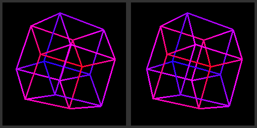 A stereoscopic 3D projection of a tesseract.Learn how to view here.