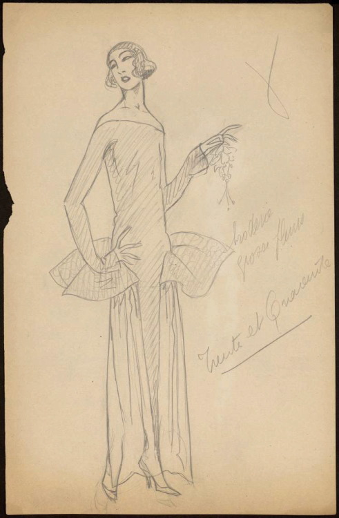 Evening dress design (looks like Poiret to me), 1920's, Les Arts Decoratifs