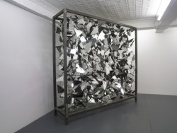 nycompendium:  Philip Hausmeier: Untitled (Cabinet)Steel tube, steel rods, mirror and silicone108 x 90 x 24 inches / 274.3 x 228.6 x 9.4 cm2007