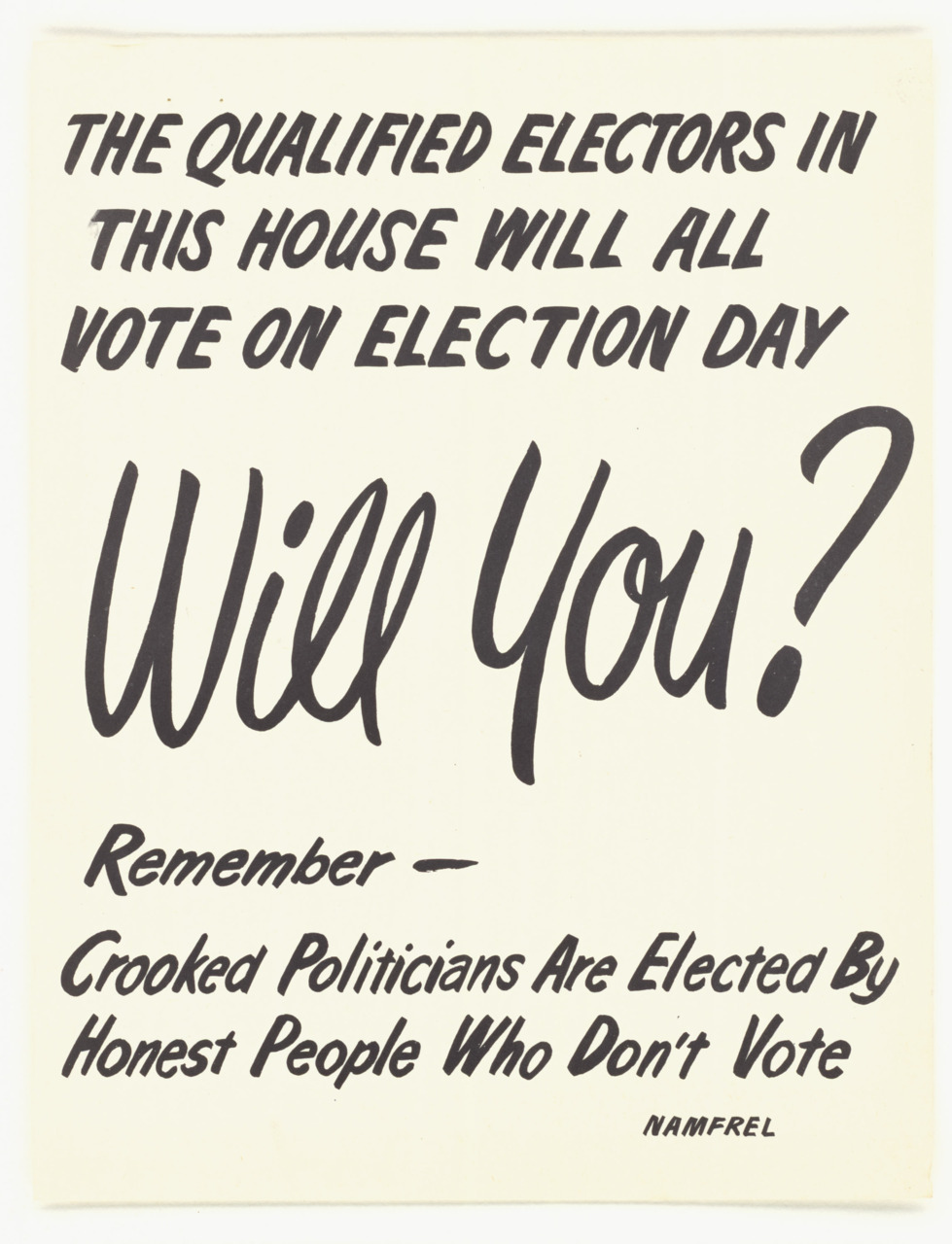 coolchicksfromhistory:  National Citizens' Movement for Free Elections (Philippines) poster from the 1950s via the US National Archives.