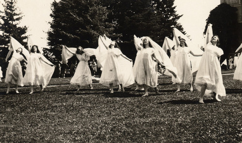 Women dancing with veils at the May Day Pageant, Oregon State University