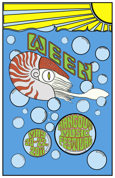 This was a poster design competition for Ween and the Hangout Music Festival via the website Creative Allies. The brief can be seen here, but a quick summary they wanted a Fillmore inspired poster which captured the Hangout music festival and Ween. Decided to go with a Nautilus as they are strange a different. Also portrayed the the vibe of the festival with sun, water and a sense of fun while trying to keep in with the theme. If you like feel free to share/ comment or rate it.