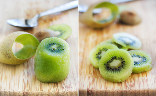 How to peel a kiwi using a spoon - what a great idea!