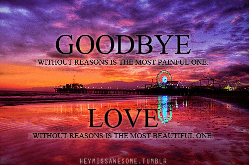 Goodbye without reasons is the most painful one. Love without reasons is the most beautiful one quote from:Anonymous submit your quotes/Lyrics to heymissawesome.tumblr