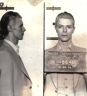David Bowie   Date:  March 25, 1976 Location:  Rochester, N.Y. Crime:  Drug Possession   Bowie was arrested in upstate New York on a felony pot possession charge along with Iggy Pop.  The arrest occurred at a Rochester hotel following a concert.  Bowie was only held for a few hours before being released.     David Bowie