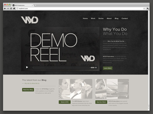 Just launched the new website of WYD Productions. Why You Do What You Do: www.wydmnl.com Branding, IA, design, and code by Create.ph.
