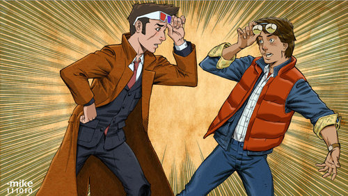 doctorwho:  DOC!? via tardismonkey  The Doctor and Marty McFly… Awesome!