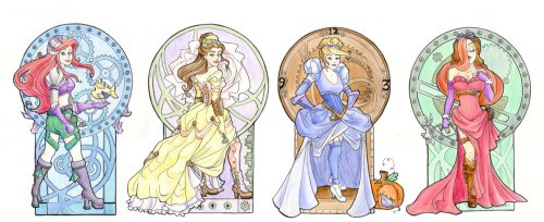 All the steampunk in one neat row! I am doing Steampunk Tinkerbell next…going to start offering prints, stickers, notecards and eventually a calendar!