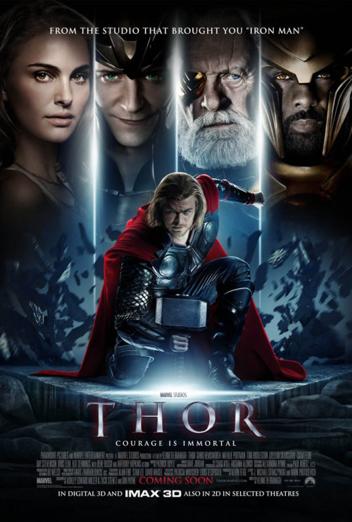 "Thor, 2011  Once again another popular comic book has hit the theaters, this time featuring the hammer-toting Viking-esque Thor. Having known about Thor only by seeing comic book covers and the die hard child fan from the movie Adventures in Babysitting, I couldn't really expect much from this film, only to see some very cool visual effects and learn a bit about the character that has become so popular within the last year.As with most movies, there were things that this movie really did well with and some that didn't do so well. While the cinematography and special effects were amazing (most of them, at least), some of the lines ended up being cheesy, specifically with the overacting of Loki's character (who was played by some guy I've never seen, and according to IMDB has been in nothing seen by anyone, ever). I liked that the film showcased a lot of the background story and showed the evolution of Thor's character, though.  On the other hand, it could have developed Natalie Portman's character a little bit more.I think the biggest shortcoming though was how much time it spent jumping around between the realms, it was a little bit jarring and meant that a lot of time had to be spent showing ""oh hey we're here now"" instead of having a smooth-flowing movie.I guess overall I was happy with it, and don't feel ripped off, but it can't stand up next to the Iron Man or Batman films, since those have set the bar REALLY high as movies… but by comic book movie standards, it's not bad. If you enjoy the run of the mill popcorn flick, you'll probably like this.  (via thecomicbooknerd)"
