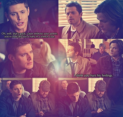 Baby angel in a dirty trench coat whose feelings are hurt. [Supernatural]