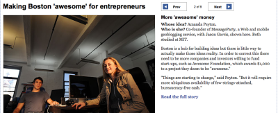 Boston Globe story on entrepreneurship. Check out the full story here.