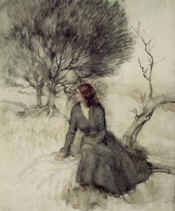 themetropolitanline:  Arthur Rackham - Girl Beside a Stream (1920s)